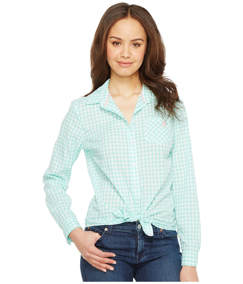 U.S. POLO ASSN. - Long Sleeve Gingham Woven Shirt (Palawan Aqua) Women's Clothing