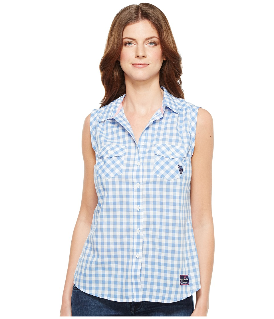 U.S. POLO ASSN. - Sleeveless Gingham Blouse (Delphinium) Women's Blouse