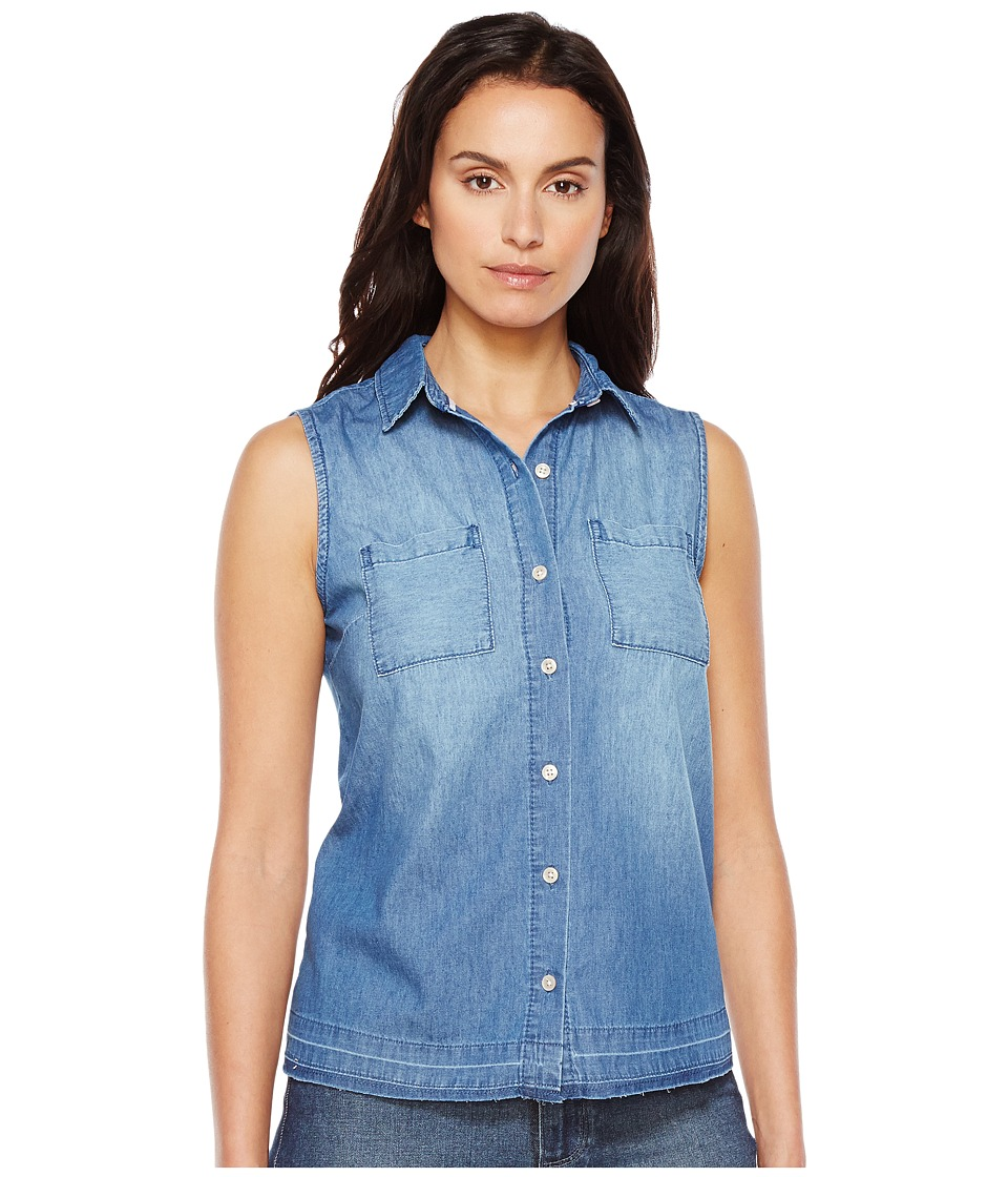 U.S. POLO ASSN. - Sleeveless Lightweight Denim Blouse (Mid Indigo Wash) Women's Blouse