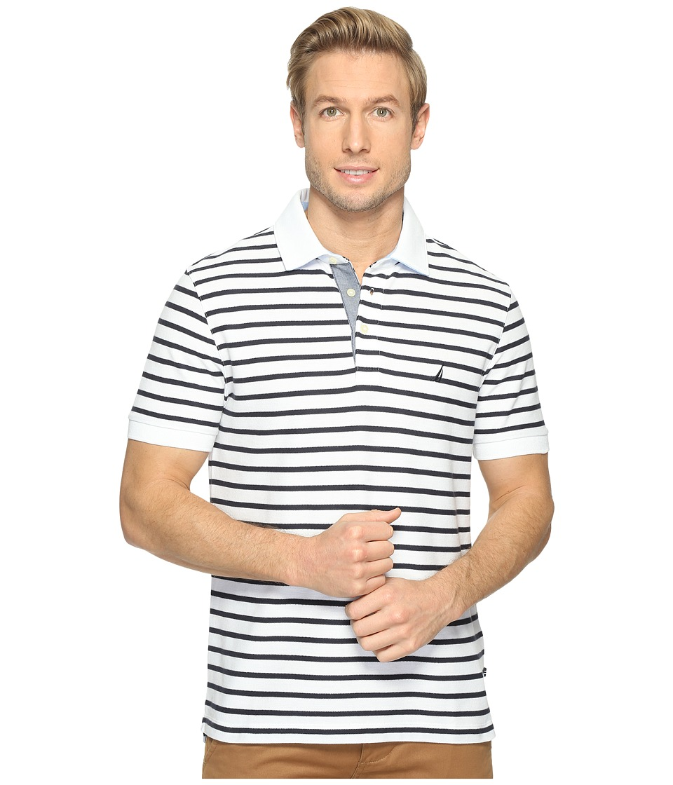 Nautica - Short Sleeve New Stripe Deck (Bright White) Men's Short Sleeve Knit