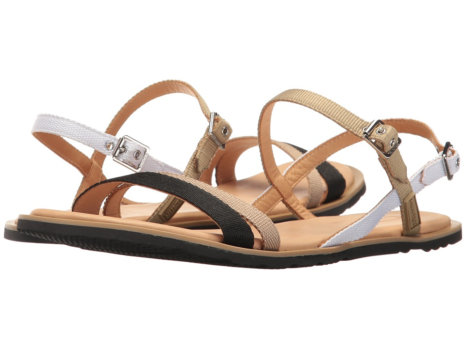 Hunter - Original Ticker Tape Sandal (Black/Warm Sand/Linen Green/White) Women's Sandals