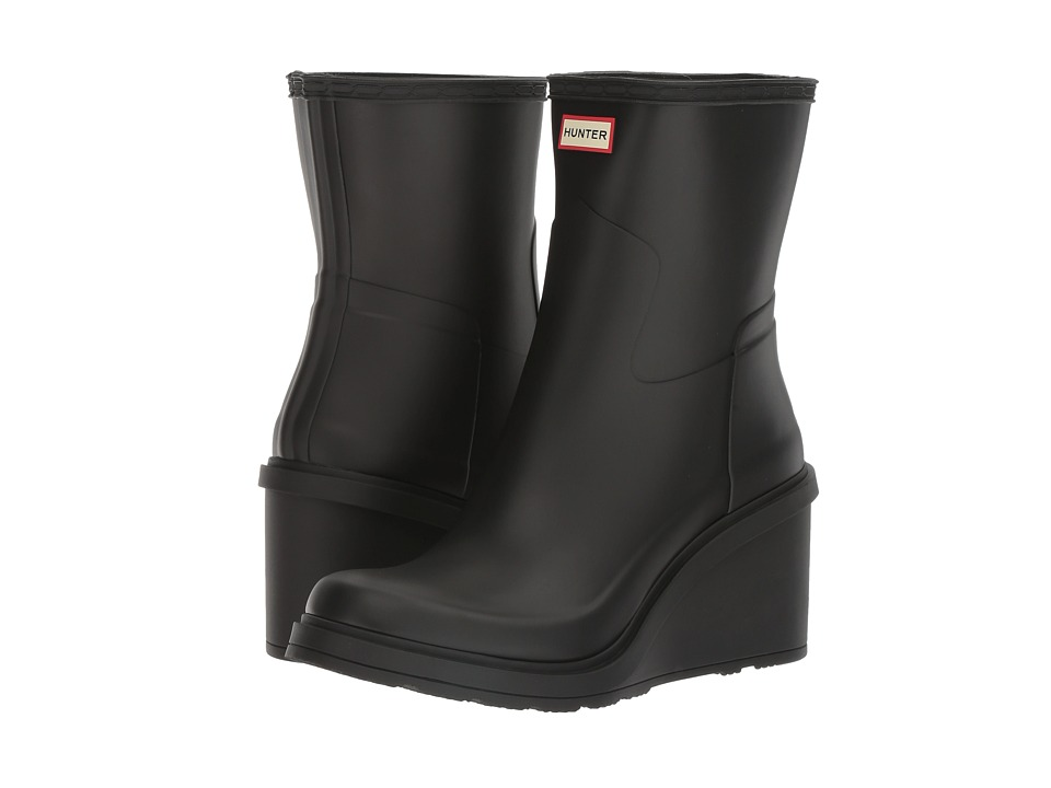 Hunter - Original Refined Mid Wedge (Black) Women's Rain Boots