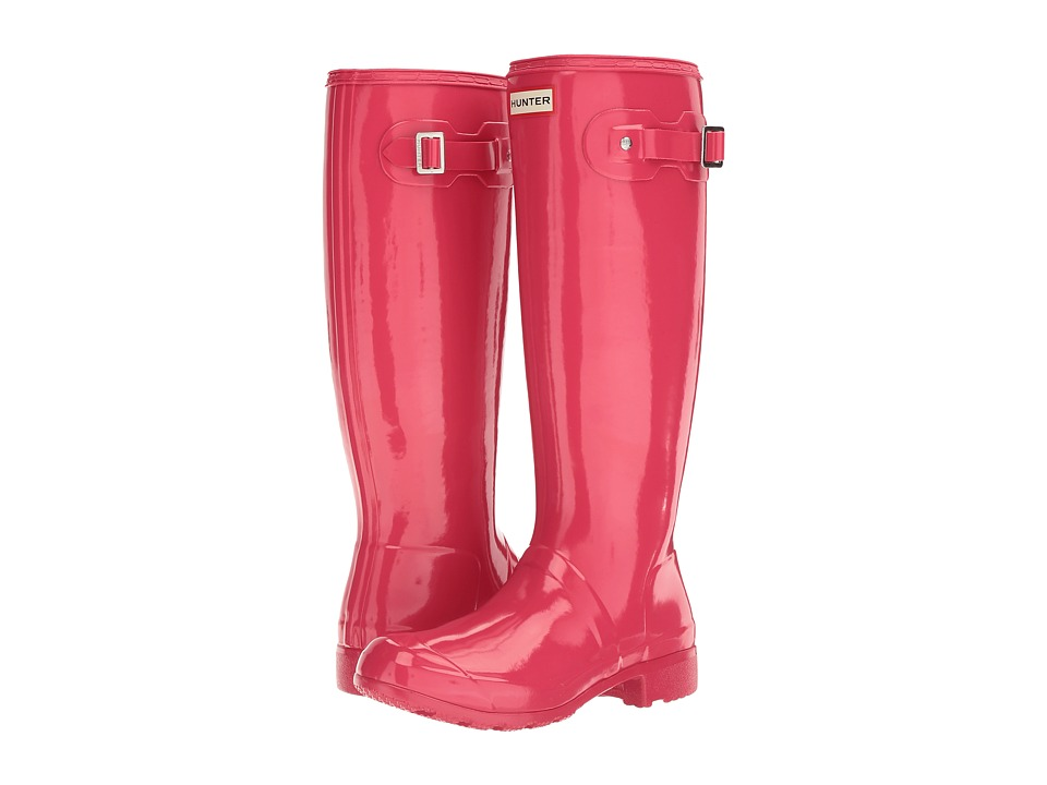 Hunter Original Tour Gloss Packable Rain Boot (Mosse Pink) Women
