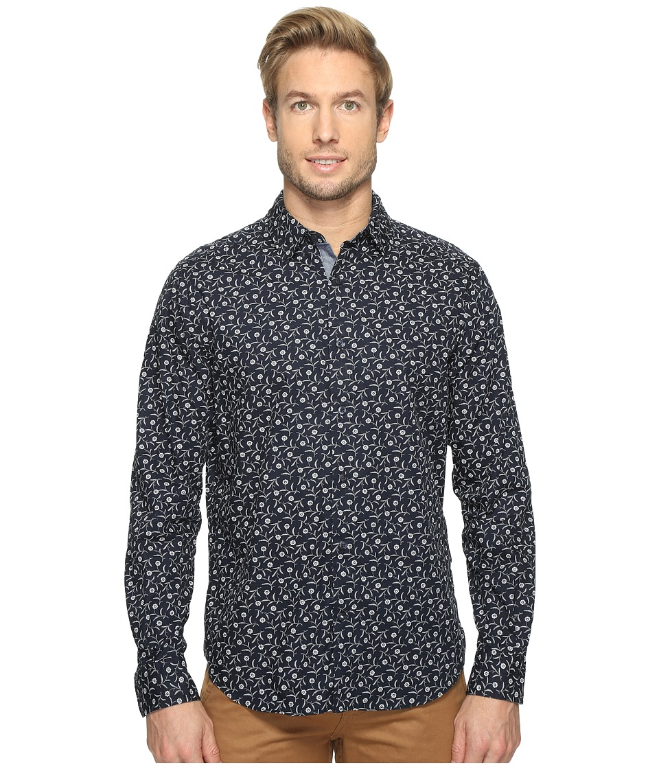 Nautica - Long Sleeve Floral Print (Maritime Navy) Men's Clothing