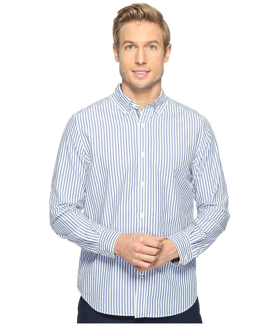 Nautica - Long Sleeve Medium Bengal Stripe (Bright Cobalt) Men's Clothing
