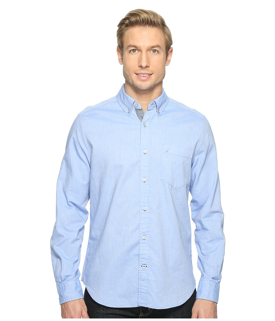 Nautica - Solid Oxford L/S Woven Shirt (French Blue) Men's Long Sleeve Button Up