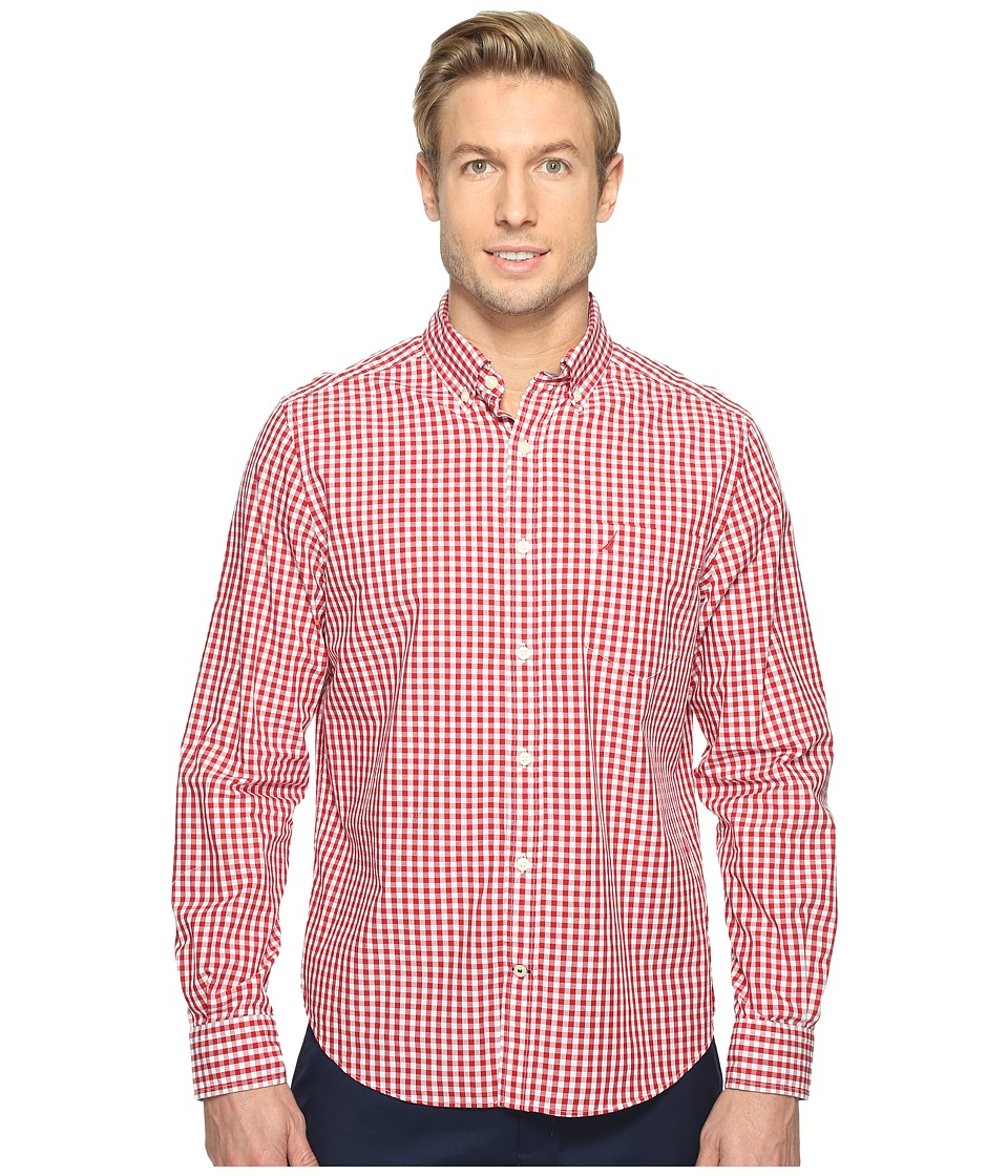 Nautica - Long Sleeve Gingham Shirt (Nautica Red) Men's Clothing