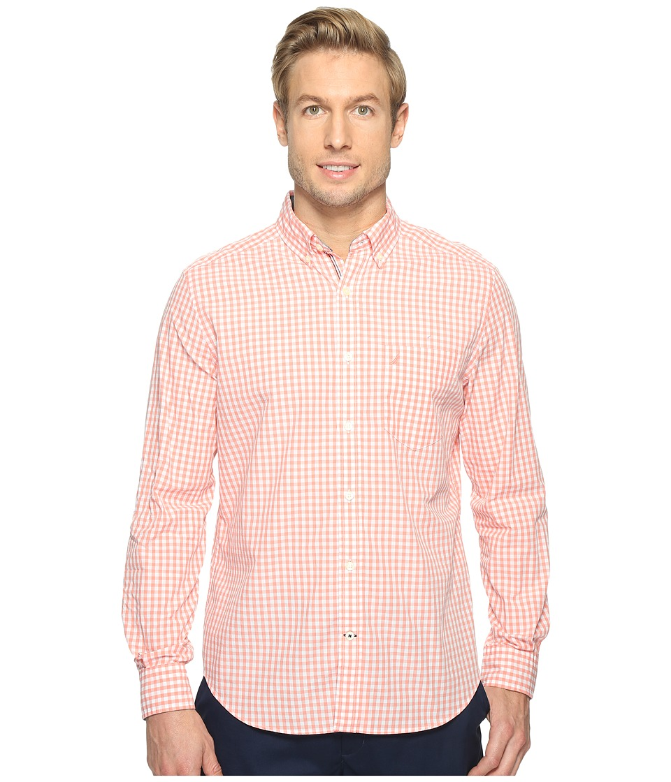 Nautica - Long Sleeve Gingham Shirt (Pale Coral) Men's Clothing