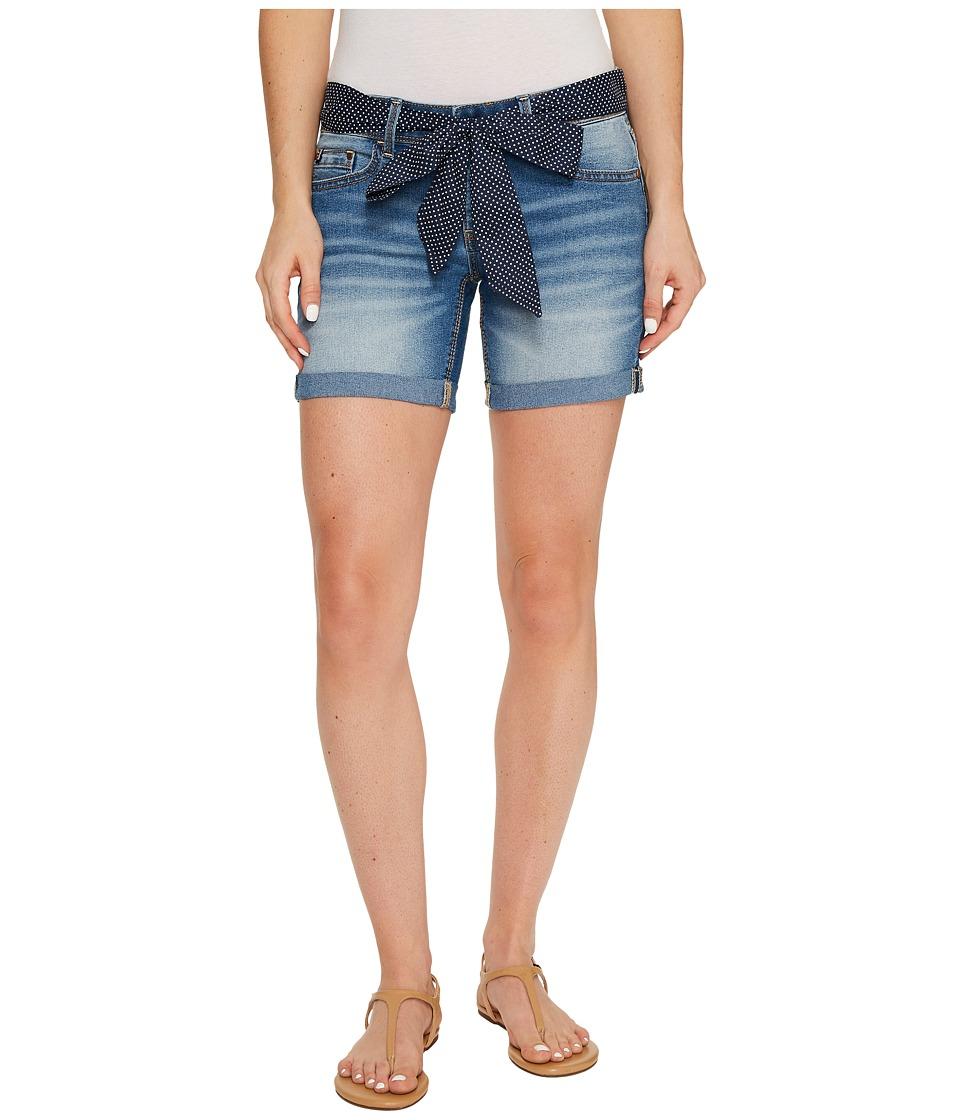 U.S. POLO ASSN. - Belted Stretch Denim Five-Pocket Shorts (Mid Vintage) Women's Shorts