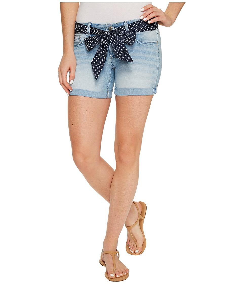 U.S. POLO ASSN. - Belted Stretch Denim Five-Pocket Shorts (Light Indigo) Women's Shorts
