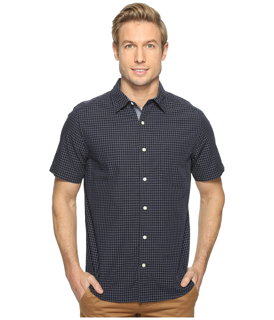 Nautica - Short Sleeve Check Shirt (Maritime Navy) Men's Clothing