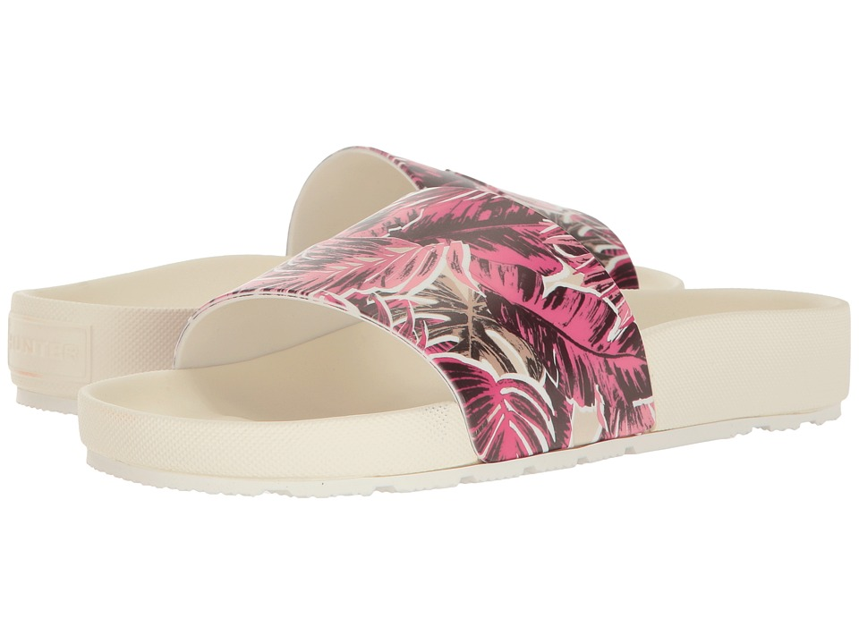 Hunter - Original Jungle Print Slide (White) Women's Shoes