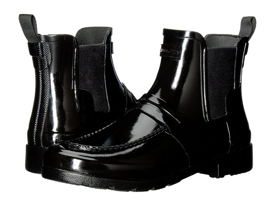 Hunter - Original Refined Penny Loafer Chelsea (Black) Women's Rain Boots