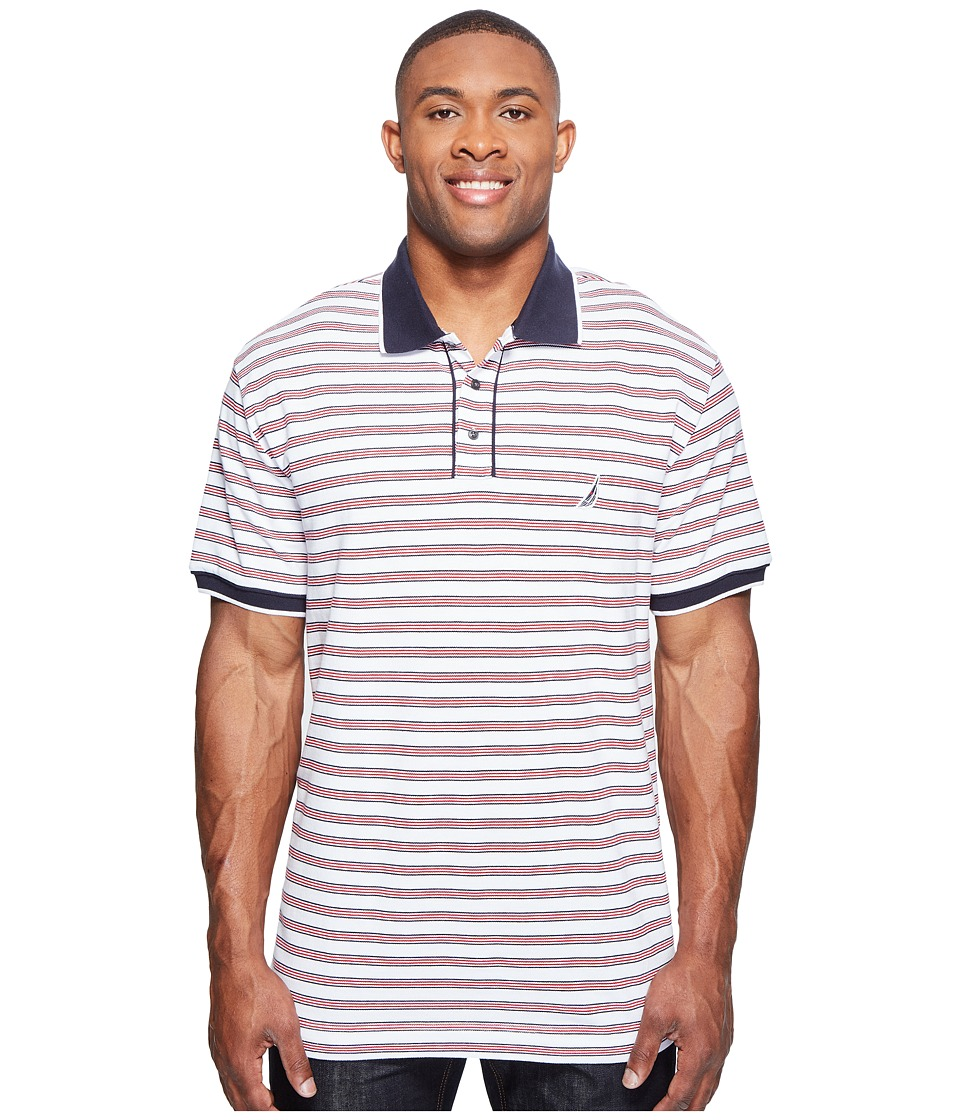 Nautica Big & Tall - Big Tall Short Sleeve Multi Stripe Polo (Bright White) Men's Short Sleeve Pullover