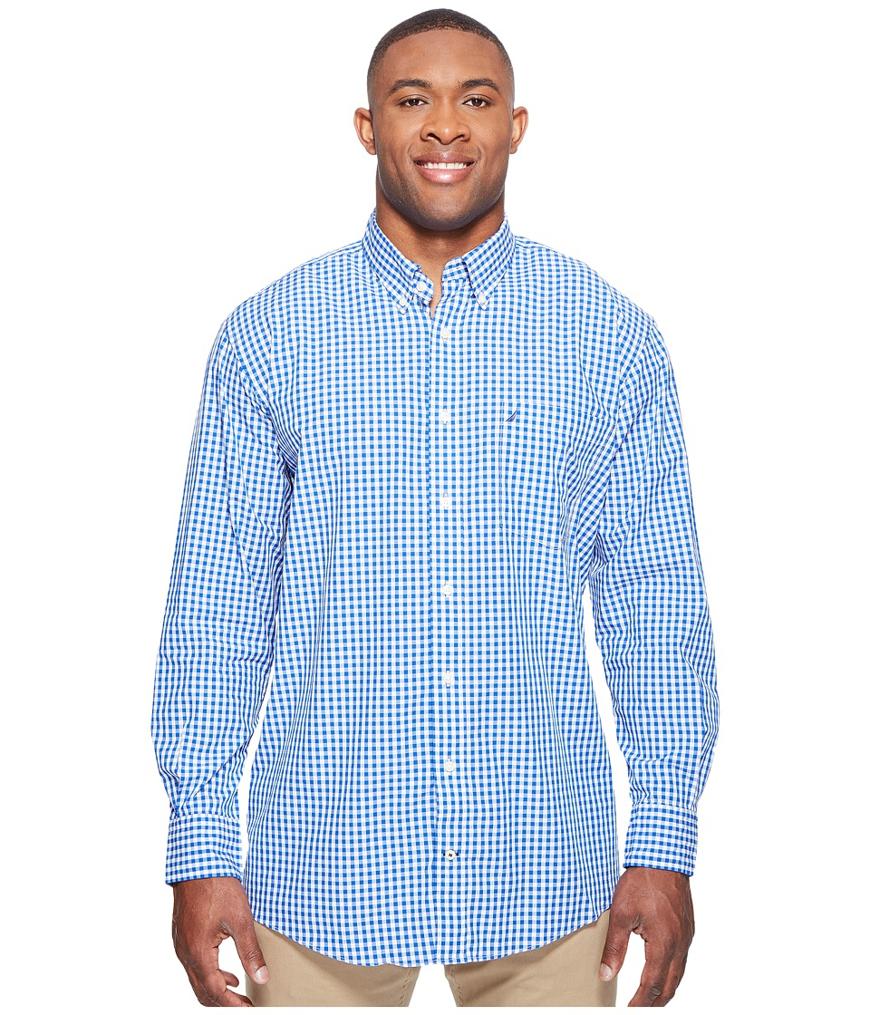Nautica Big & Tall - Big Tall Long Sleeve Gingham Shirt (Bright Cobalt) Men's Clothing