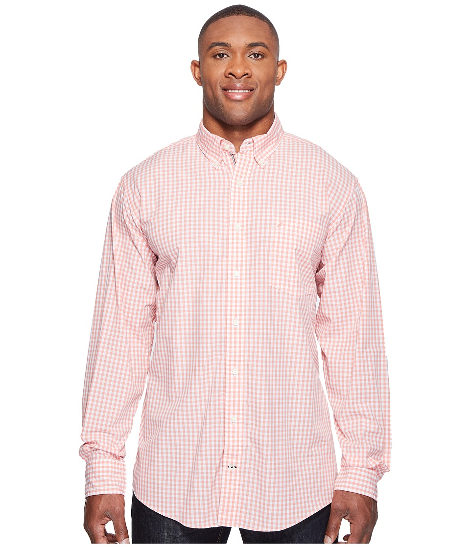 Nautica Big & Tall - Big Tall Long Sleeve Gingham Shirt (Pale Coral) Men's Clothing