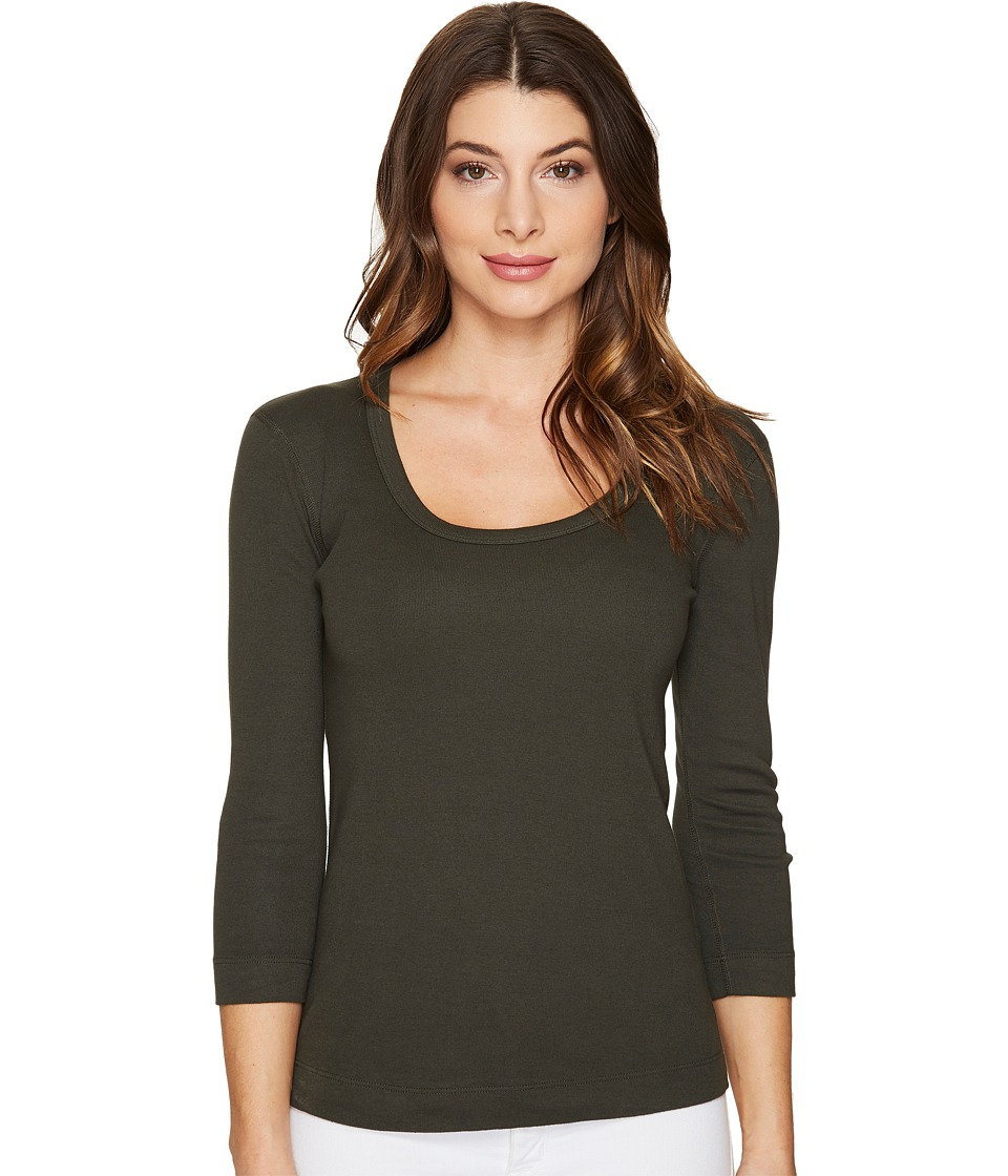Three Dots - 3/4 Sleeve Scoop Neck (Tapenade) Women's Long Sleeve Pullover