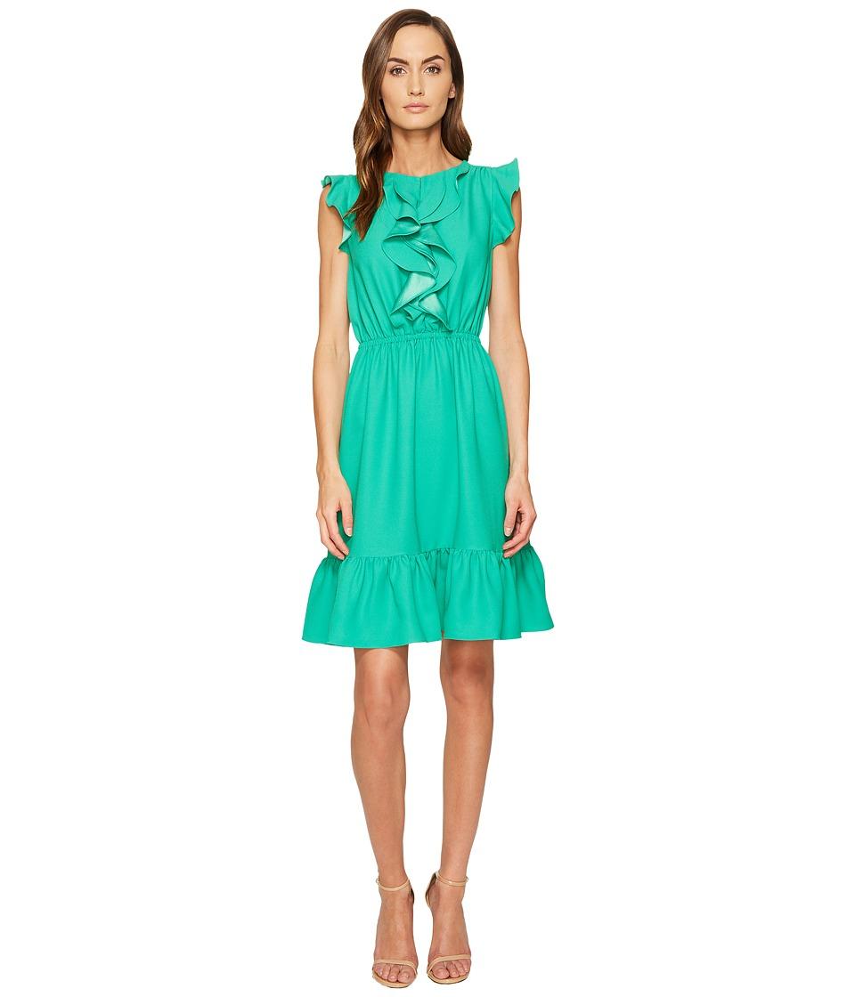 Kate Spade New York - Crepe Ruffle Dress (Beryl Green) Women's Dress