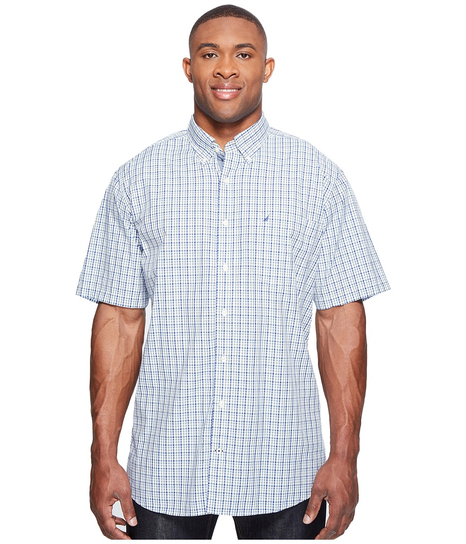 Nautica Big & Tall - Big Tall Short Sleeve Multi Plaid Shirt (Bright Cobalt) Men's Clothing