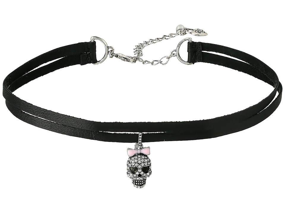 Betsey Johnson - Pave Skull Charm 2 Row Choker Necklace (Black) Necklace