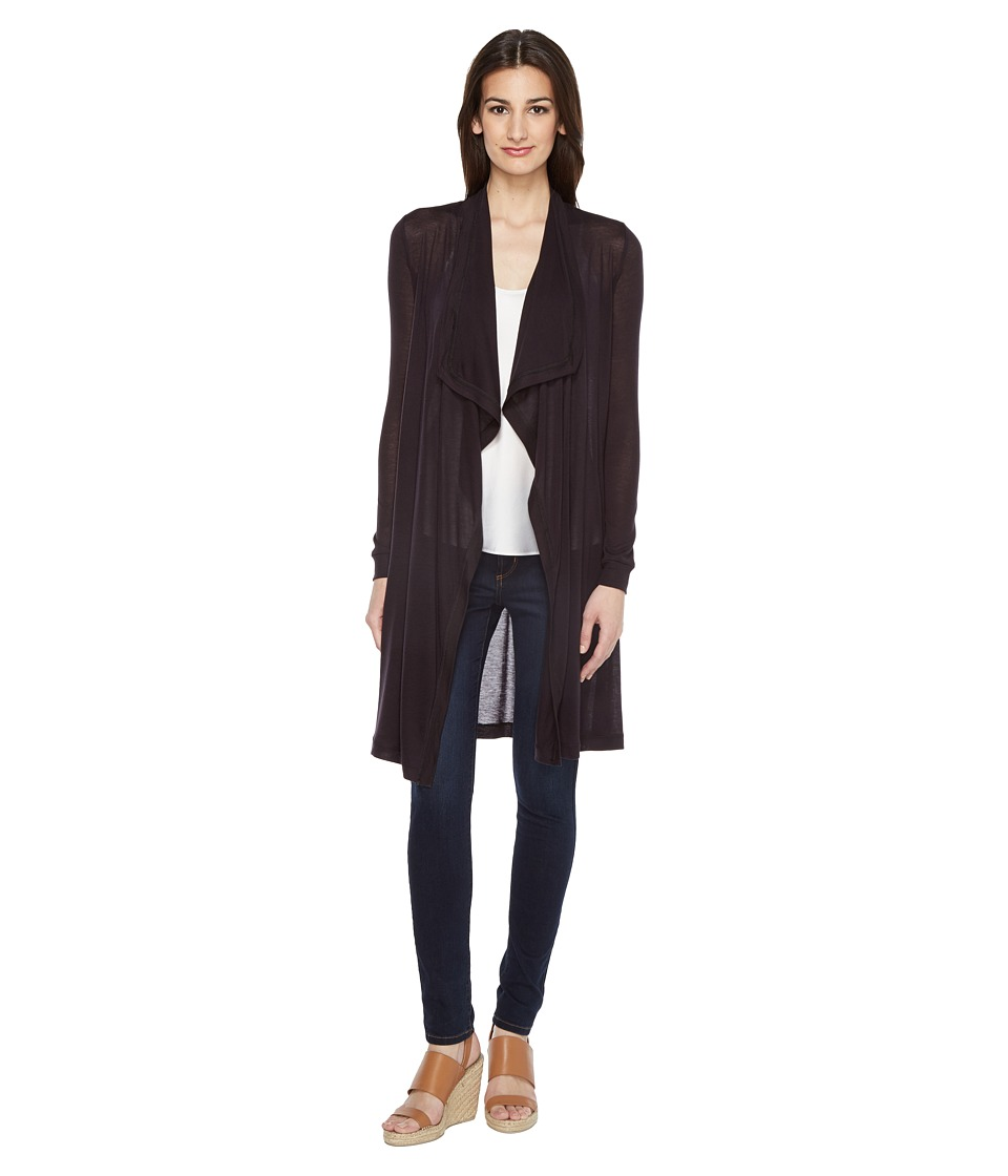 Three Dots - Drape Front Cardigan (Black) Women's Sweater