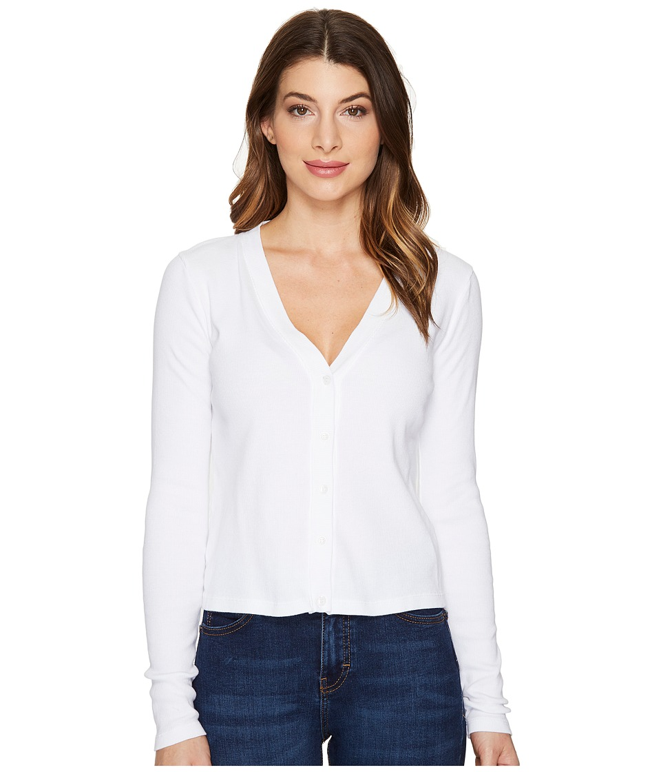 Three Dots - Cropped Cardigan (White) Women's Sweater