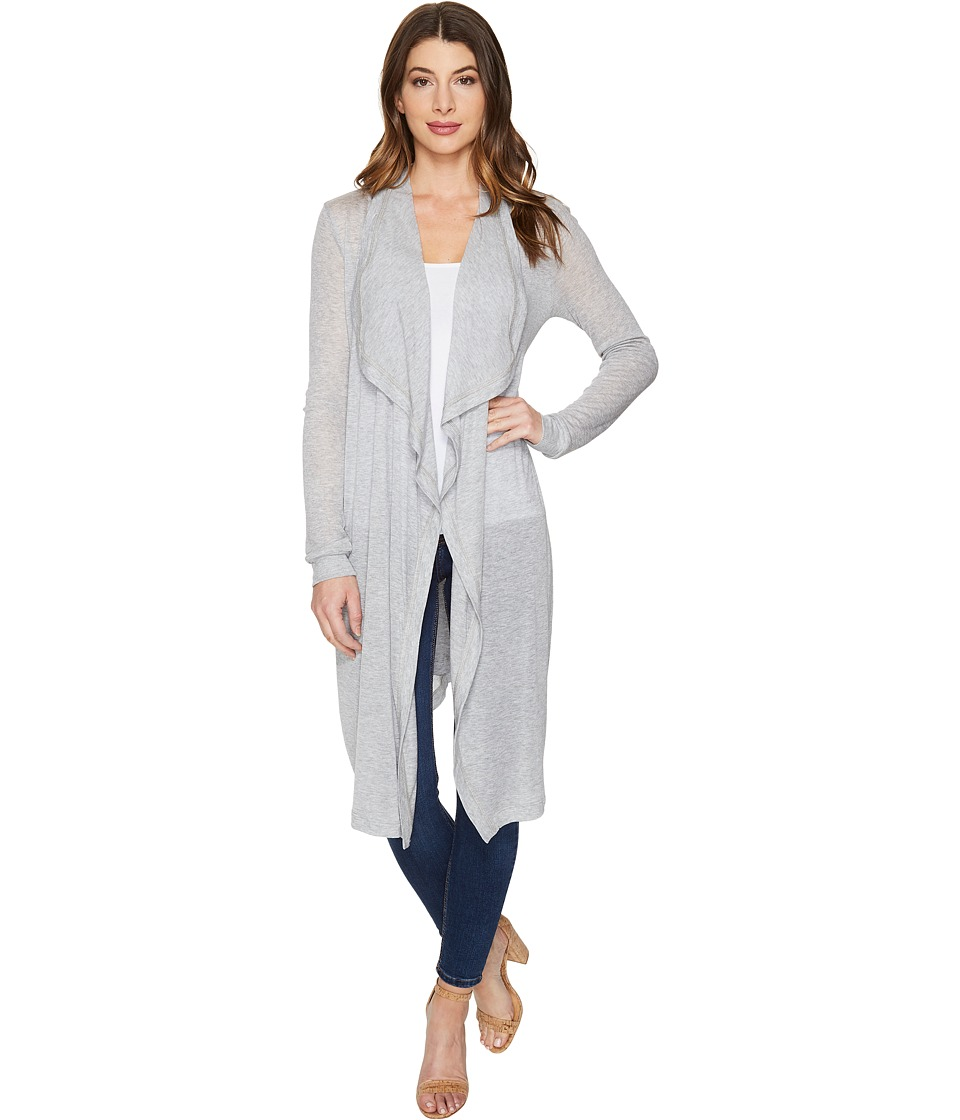 Three Dots - Melange Drape Front Cardigan (Granite) Women's Sweater