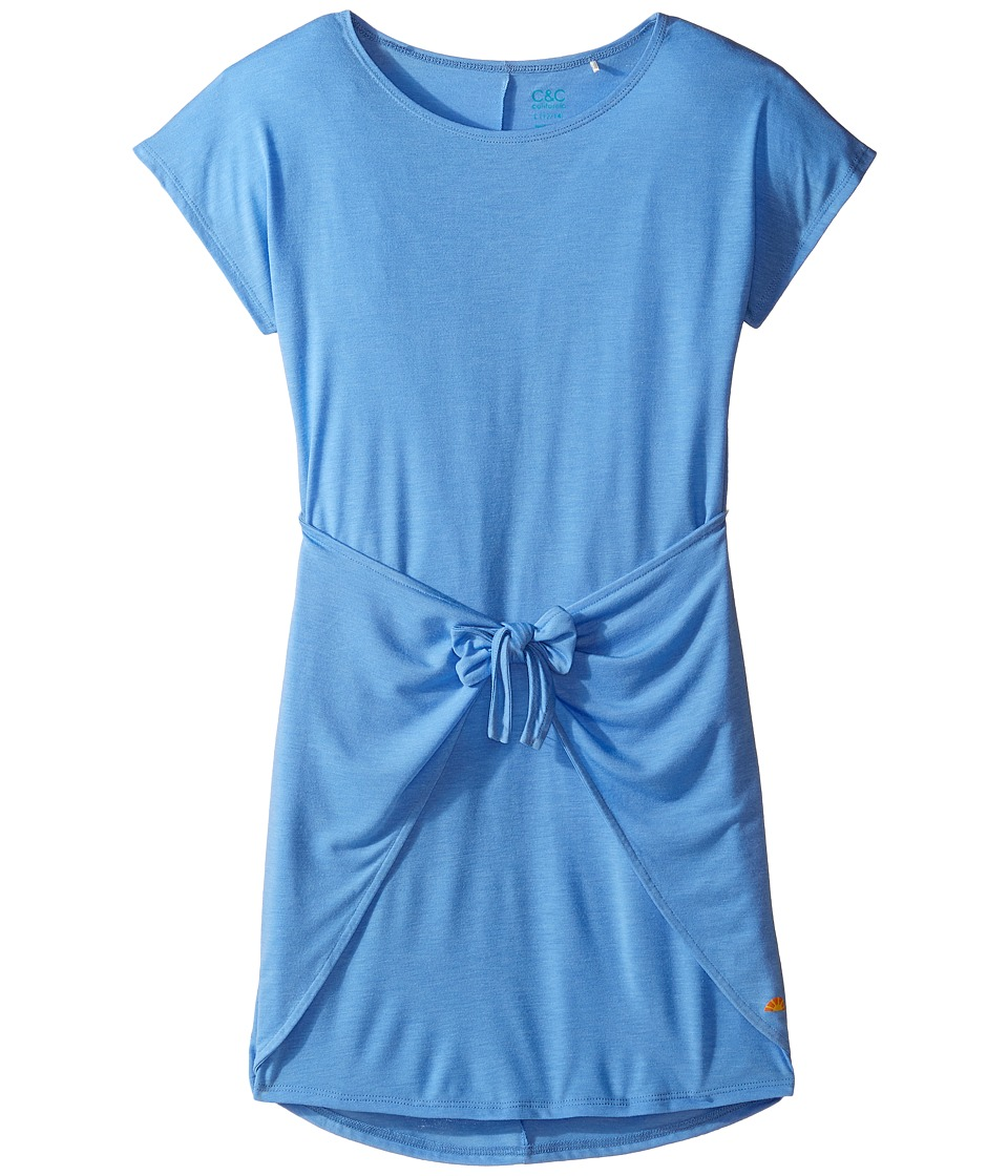 C&C California Kids - Poly Viscose Tie Front Tee Dress (Little Kids/Big Kids) (Sea Blue) Girl's Dress