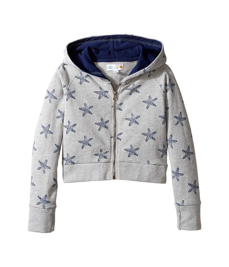 C&C California Kids - Fleece Top (Little Kids/Big Kids) (Star Print Light Grey Heather) Girl's Clothing