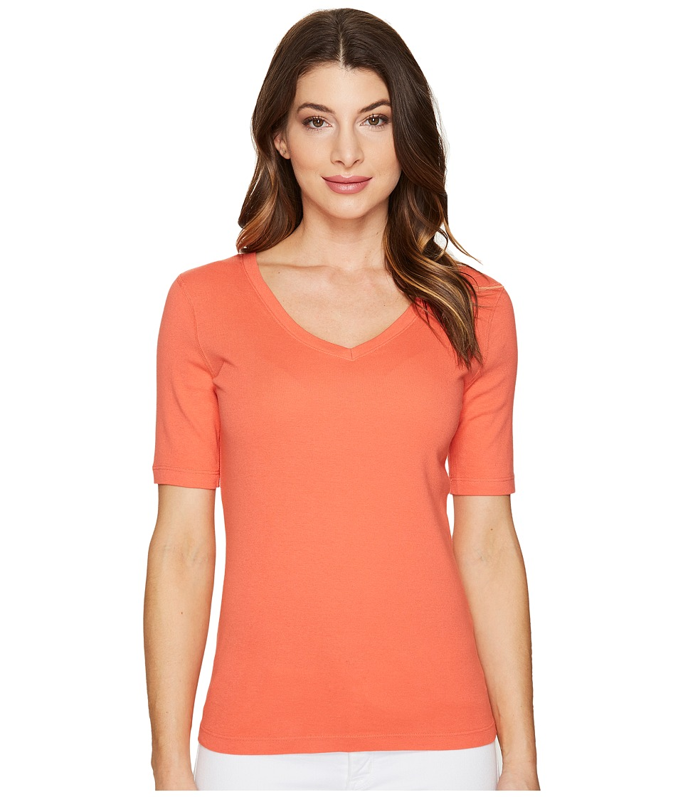 Three Dots - 9 Sleeve V-Neck (Coral Sunset) Women's Short Sleeve Pullover