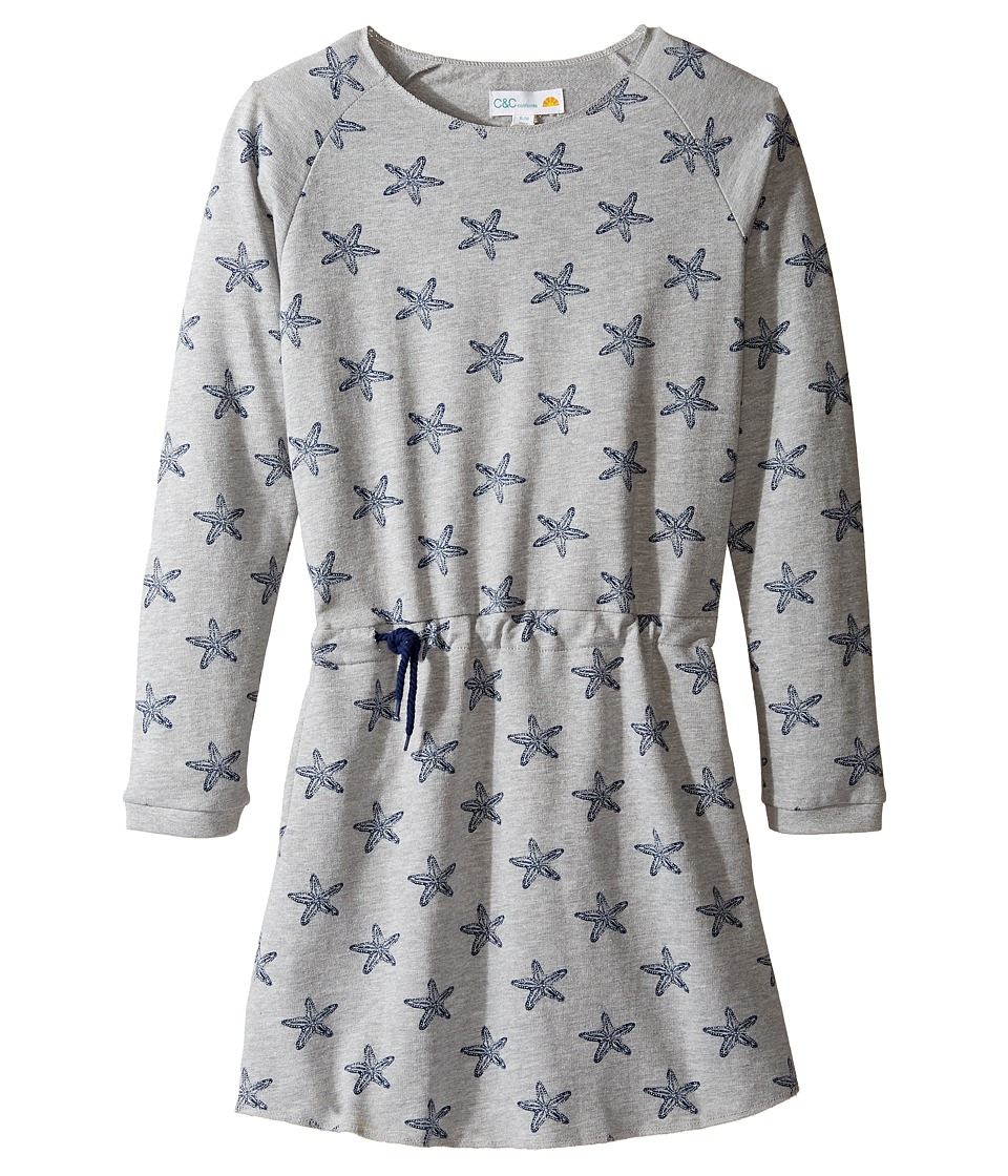 C&C California Kids - Fleece Dress (Little Kids/Big Kids) (Star Print Light Grey Heather) Girl's Dress