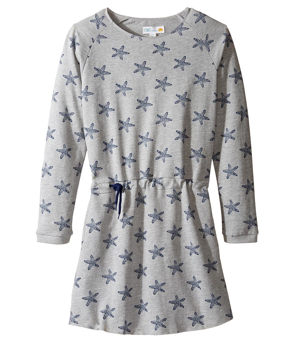 C&C California Kids - Fleece Dress (Little Kids/Big Kids) (Star Print Light Grey Heather) Girl's Dress