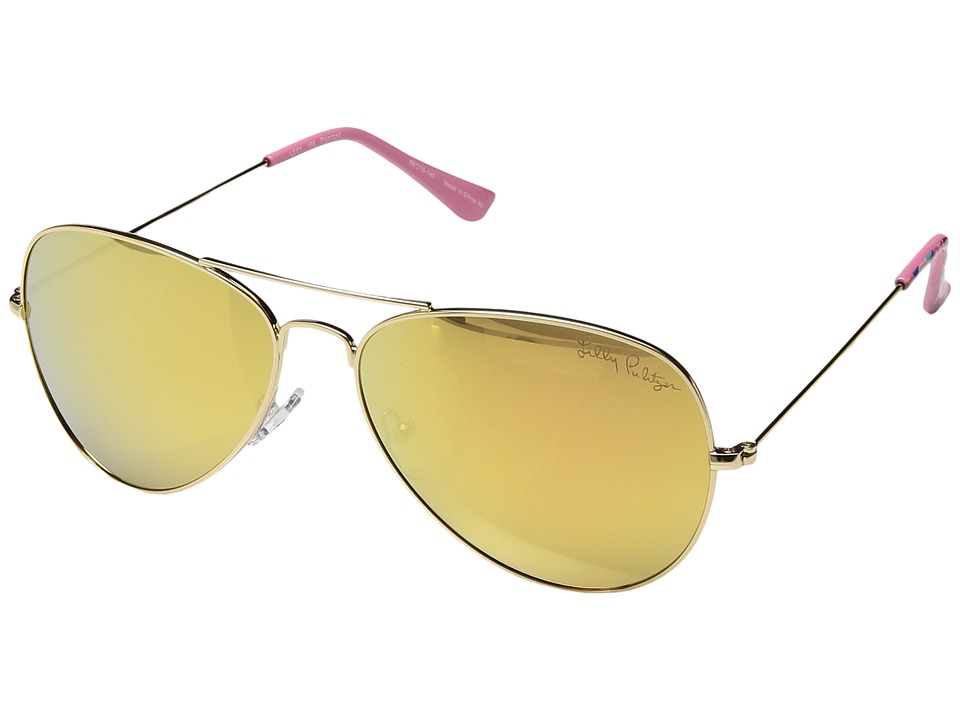 Lilly Pulitzer - Lexy (Polarized) (Shiny Gold/Playa Hermosa Tips/Polarized Liquid Gold Mirror Lens) Polarized Fashion Sunglasses