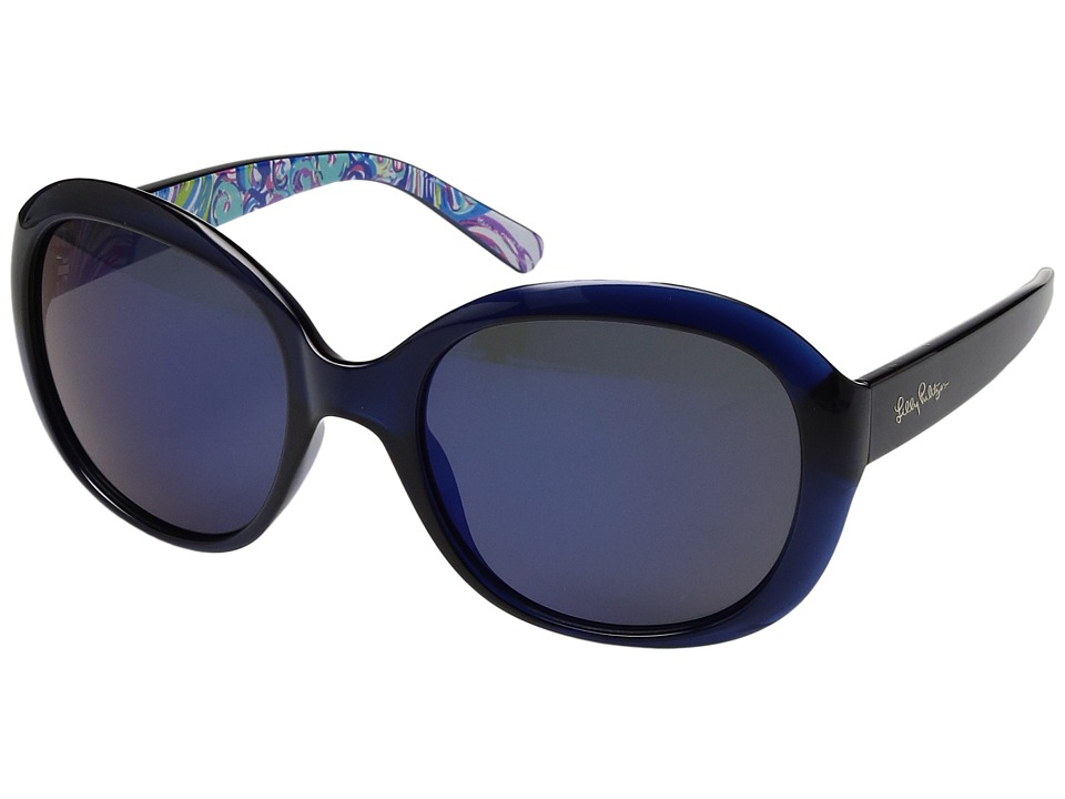 Lilly Pulitzer - Magnolia (Navy/Guilty Pleasure Inside Temples/Polarized Gold Flash) Fashion Sunglasses