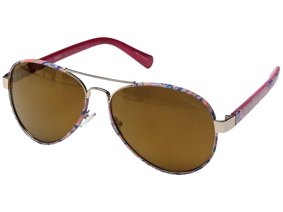 Lilly Pulitzer - Ainsley (Shiny Gold/Banana Flambe/Polarized Gold Flash) Fashion Sunglasses