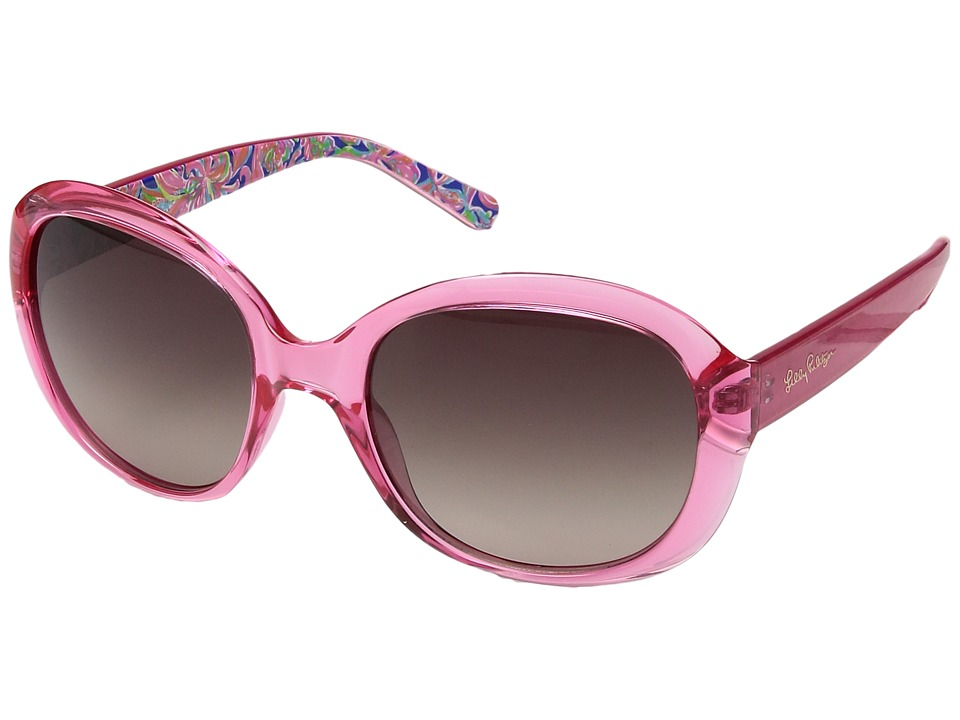 Lilly Pulitzer - Magnolia (Crystal Pink/Banana Flambe Inside Temples/Polarized Dark Brown) Fashion Sunglasses