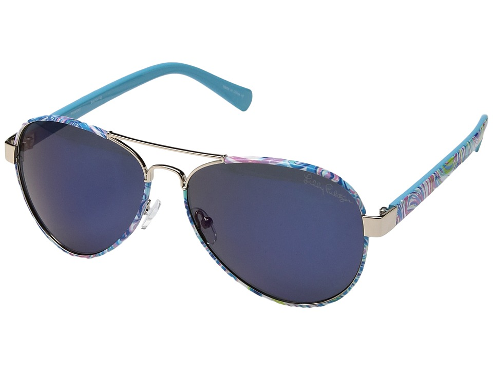 Lilly Pulitzer - Ainsley (Shiny Gold/Guilty Pleasure/Polarized Blue Mirror Lens) Fashion Sunglasses