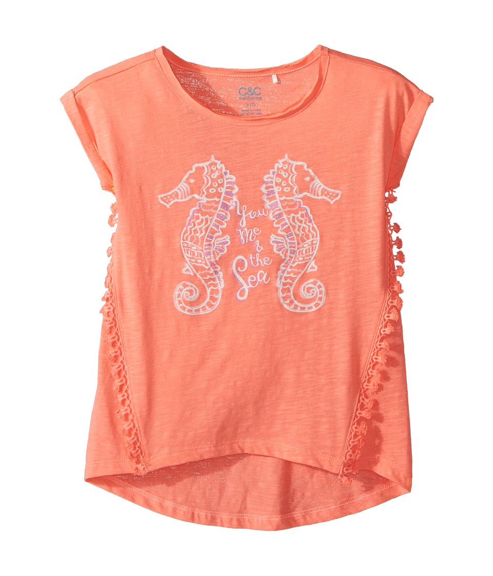 C&C California Kids - Seahorse Top (Little Kids/Big Kids) (Pop Coral) Girl's Clothing