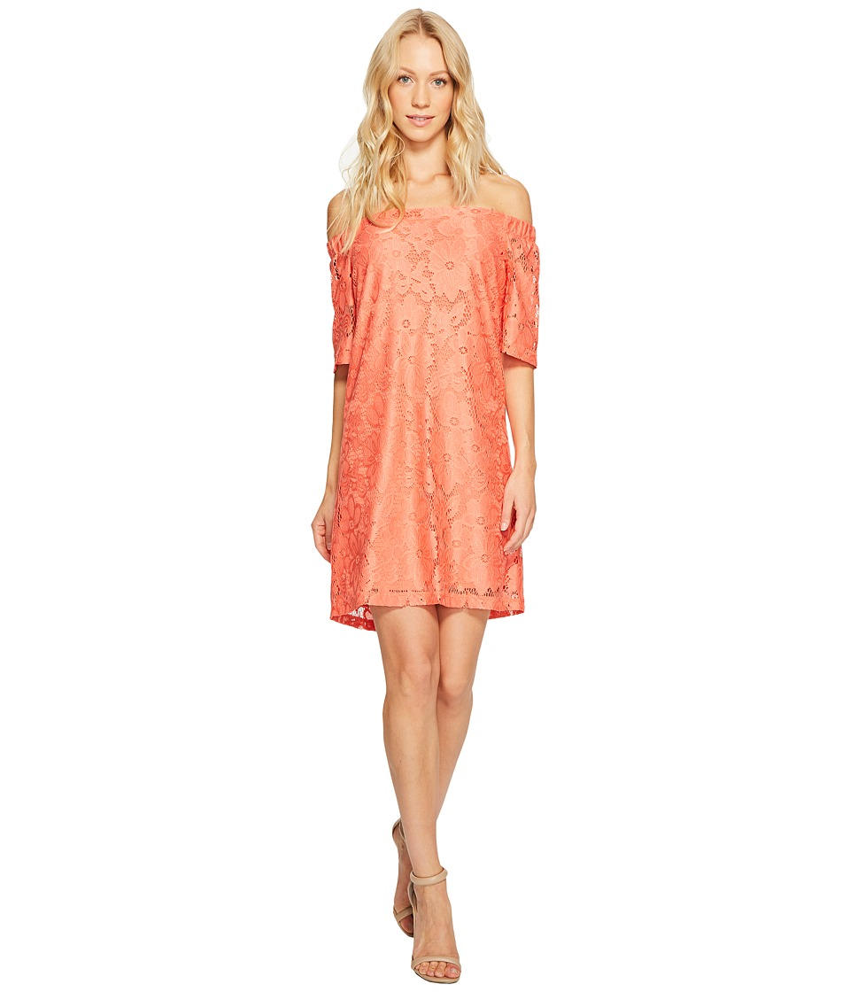 Donna Morgan - Off the Shoulder Short Sleeve Knit Lace Shift Dress (Tea Rose) Women's Dress