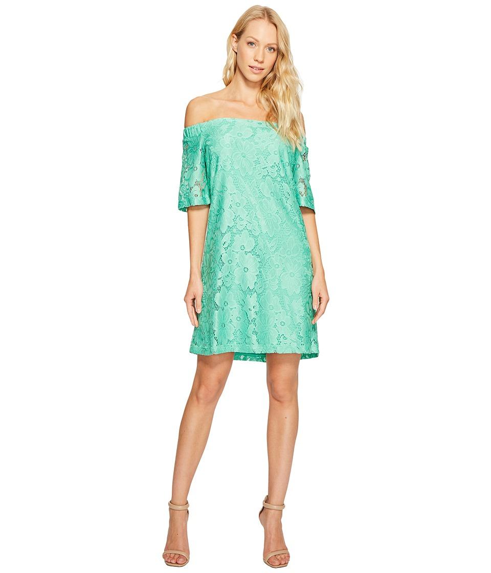 Donna Morgan - Off the Shoulder Short Sleeve Knit Lace Shift Dress (Field Green) Women's Dress