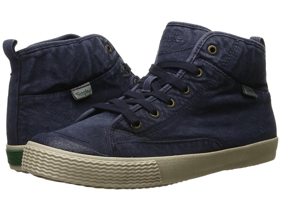 Simple - Waltham (Navy Dye Wash Canvas) Men's Shoes