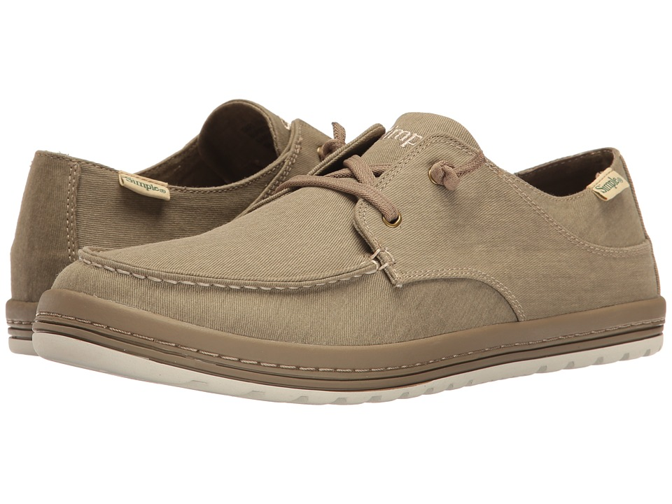 Simple - Dart (Burnt Olive Wash Twill) Men's Shoes