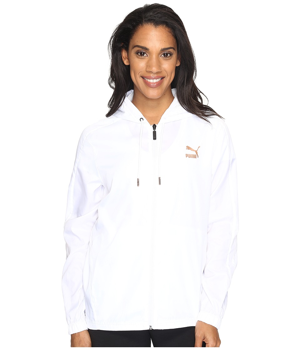 PUMA - T7 Metallic Wind Jacket (PUMA White) Women's Coat