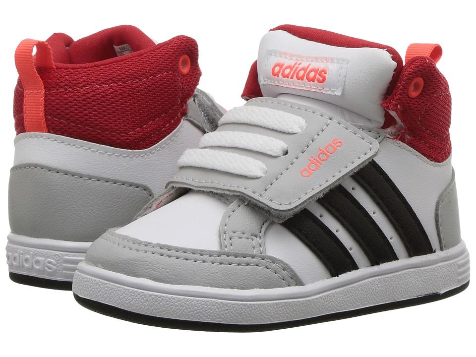 adidas Kids Hoops Mid (Infant/Toddler) (White/Black/Scarlet) Boys Shoes
