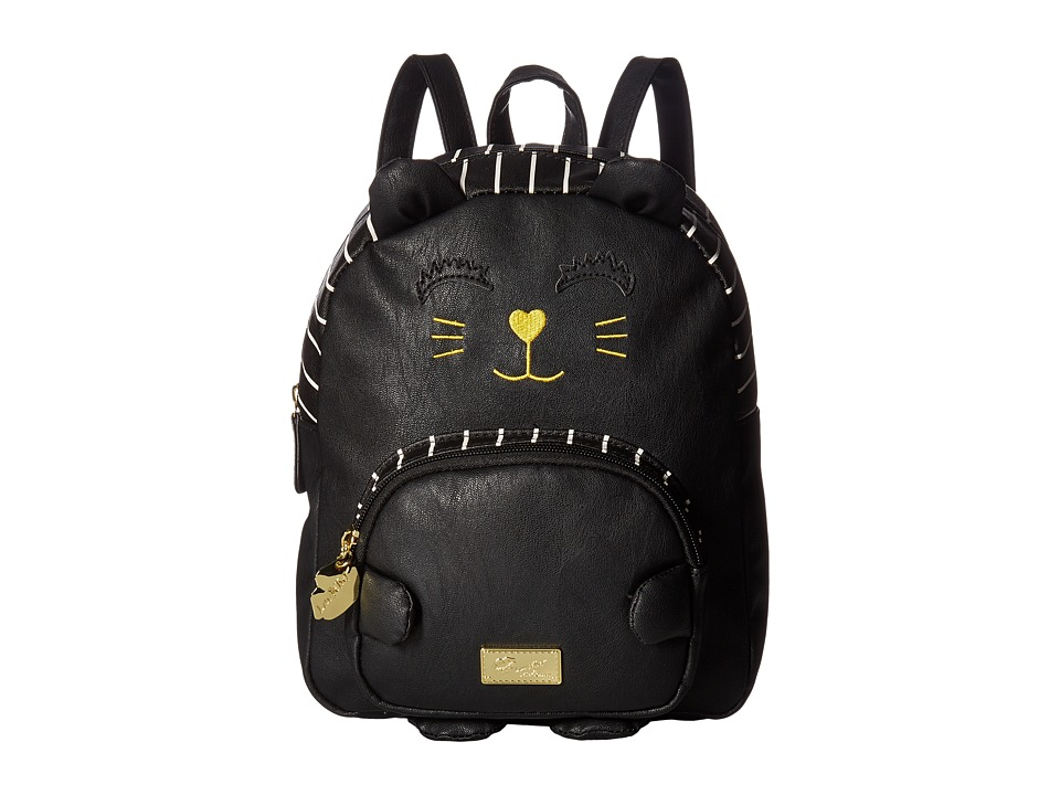 Luv Betsey - Kitty PVC Kitch Mini Backpack (Black) Backpack Bags