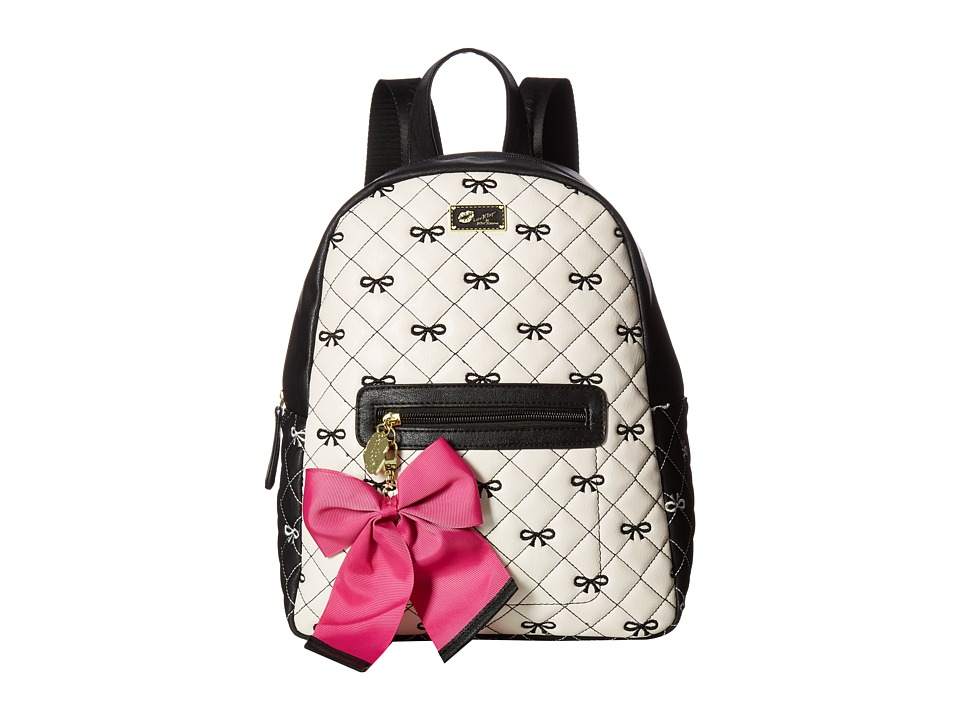 Luv Betsey - Demi PVC Backpack (Black/White) Backpack Bags