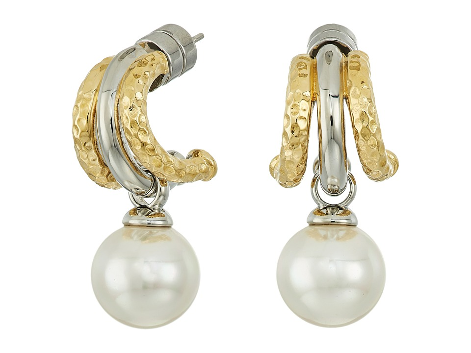 Majorica - Two-Tone Hoop Post Pearl Earrings (White) Earring