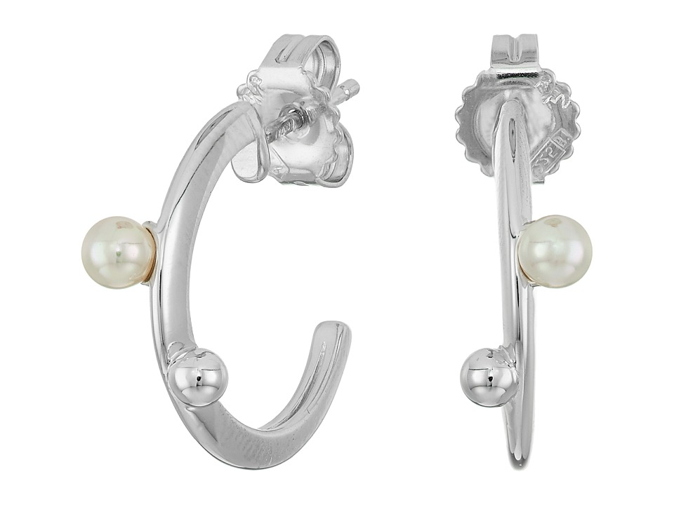 Majorica - Hoop Post Pearl Earrings (White) Earring