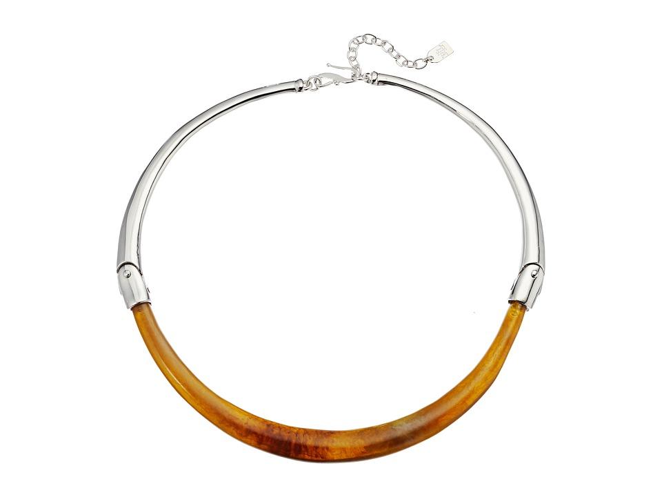 LAUREN Ralph Lauren - 16 Hinged Torque Horn Necklace (Silver/Bone) Necklace