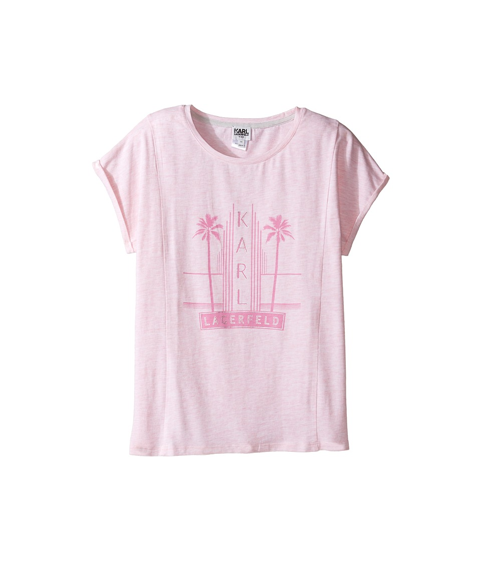 Karl Lagerfeld Kids - Short Sleeve Melange Jersey Tee w/ Miami Print (Big Kids) (Light Pink) Girl's T Shirt